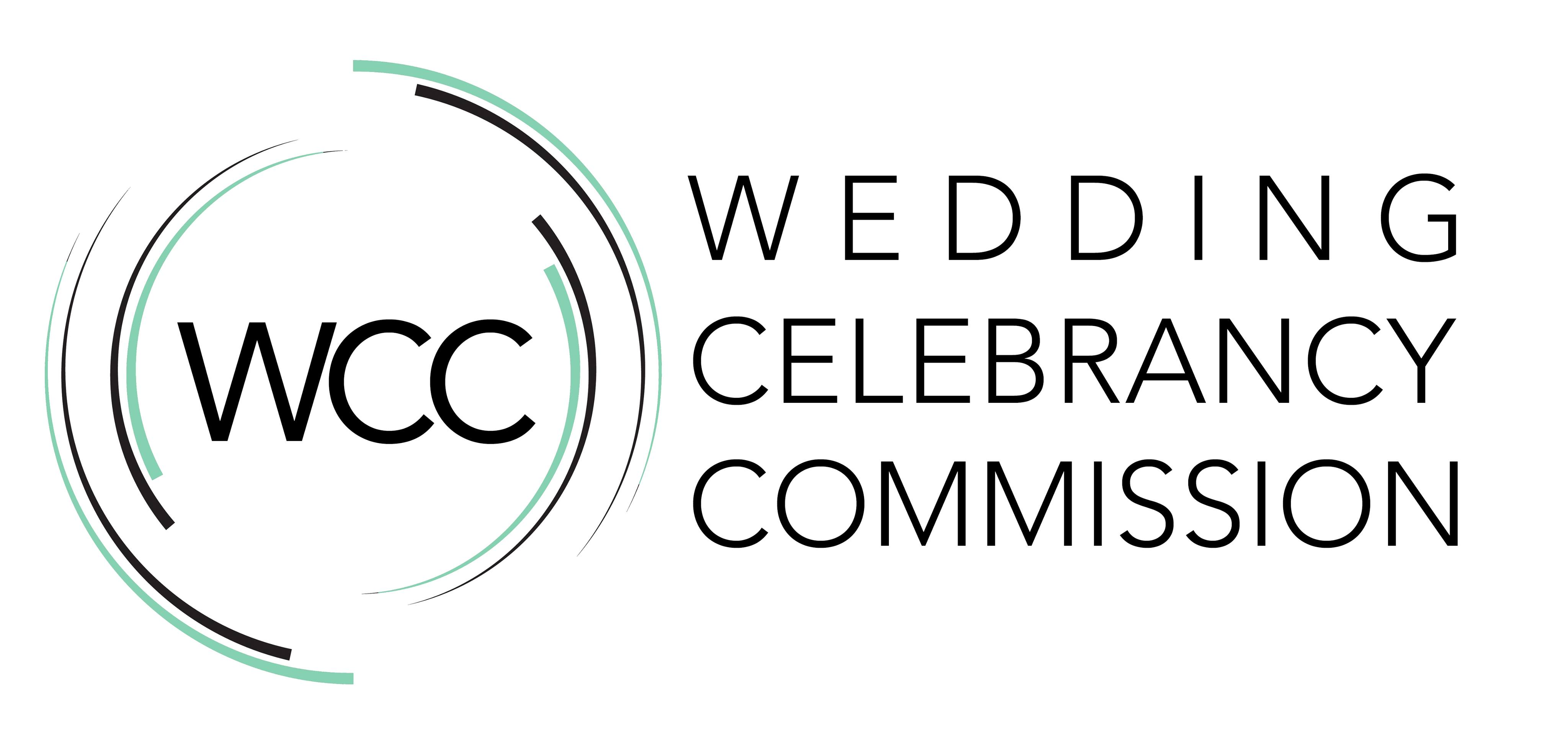 Wedding Celebrancy Commission logo with green and black circles around it.